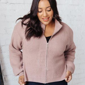 Cozy Casual Cropped Zip Up Sweater Jacket Mauve Regular and Plus